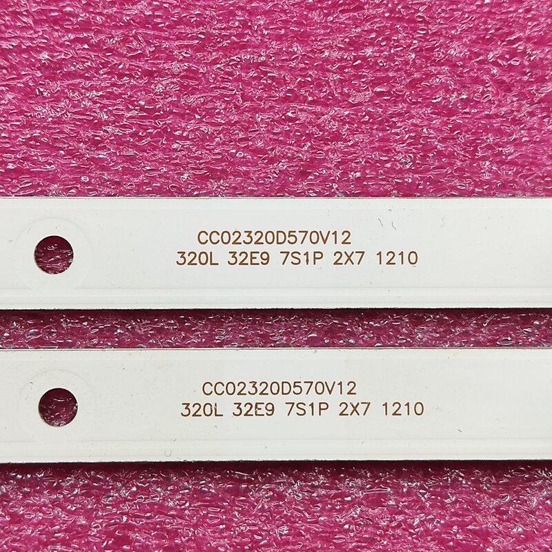 2 unids/set tira de LED para iluminación trasera para STARWIND SW-LED32R301BT2 RCA RTDVD3215-B AOC T3211M 320L 32E9 7S1P 2X7 CC02320D570V12 08 02