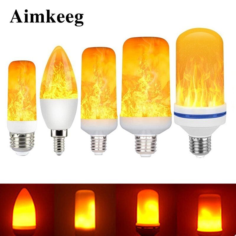 LED E27 불꽃 전구 화재 E14 램프 옥수수 전구 깜박 거리는 LED 빛 동적 불꽃 효과 3W 5W 7W 9W 110V-220v 홈 조명