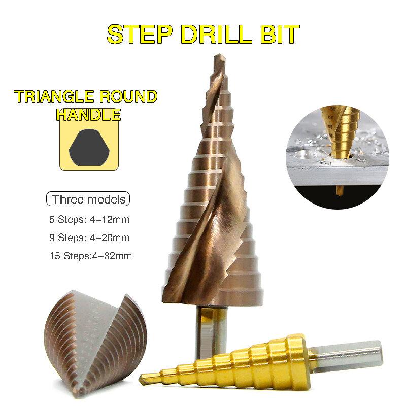 HSS Schritt Bohrer Sets Versetzt Schritt Nieselregen Bohrer Metall Bohrer Spade Bit Titan Beschichtet Holz Werkzeug Trat Metall Bohrer bits