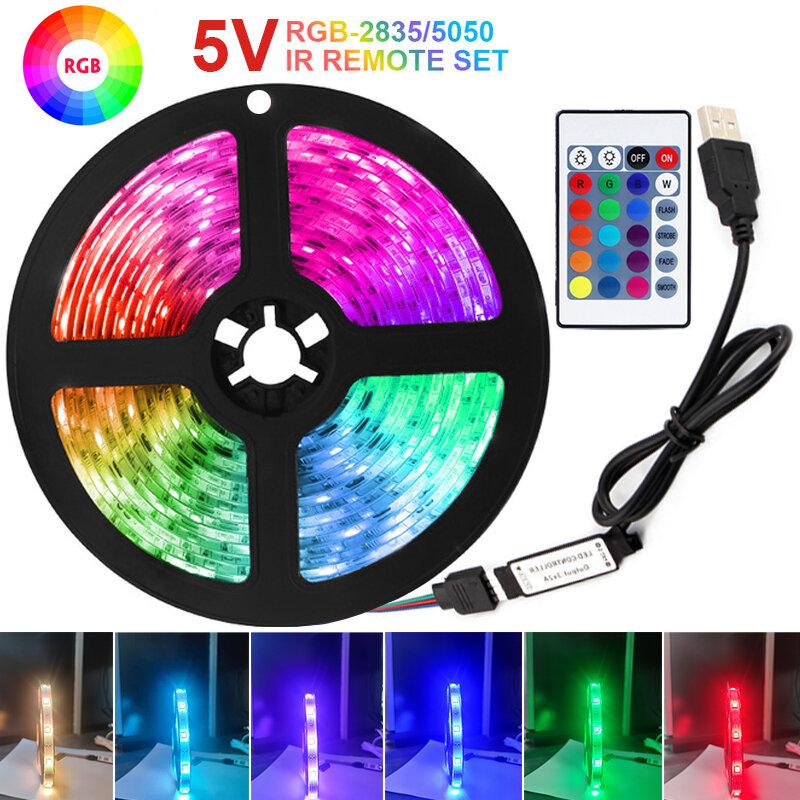 Tira de Luces LED RGB de 5V, cinta Flexible de diodos, decoración de Luces de retroiluminación, USB, SMD5050, 2835, Control IR, 1M, 2M, 3M, 4M, 5M