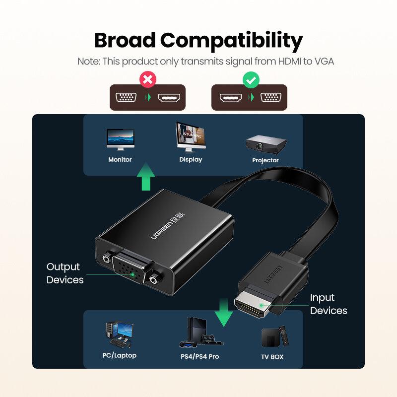 Ugreen HDMI لمحول VGA ل PS4 ذكر إلى Famale محول 1080P VGA إلى محول HDMI مع 3.5 جاك ل TV Box PC VGA إلى HDMI