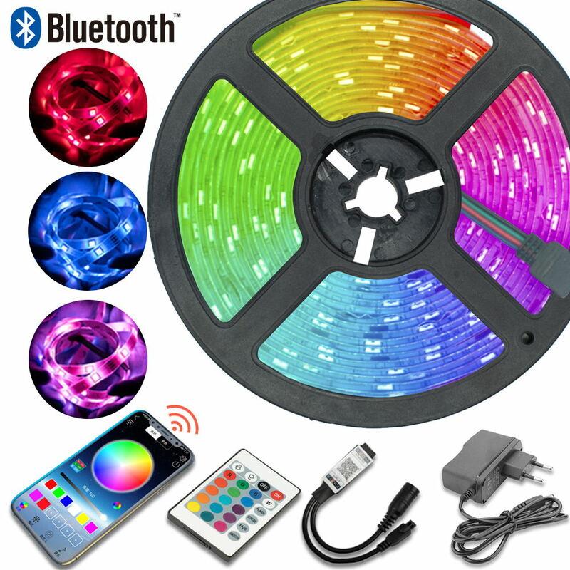 Tira de Luces LED con Control por Bluetooth RGB 2835, CC de 12V, 7,5 M, enchufe europeo, cinta Flexible de diodos de 32,8 pies, decoración del hogar, Luces de Navidad