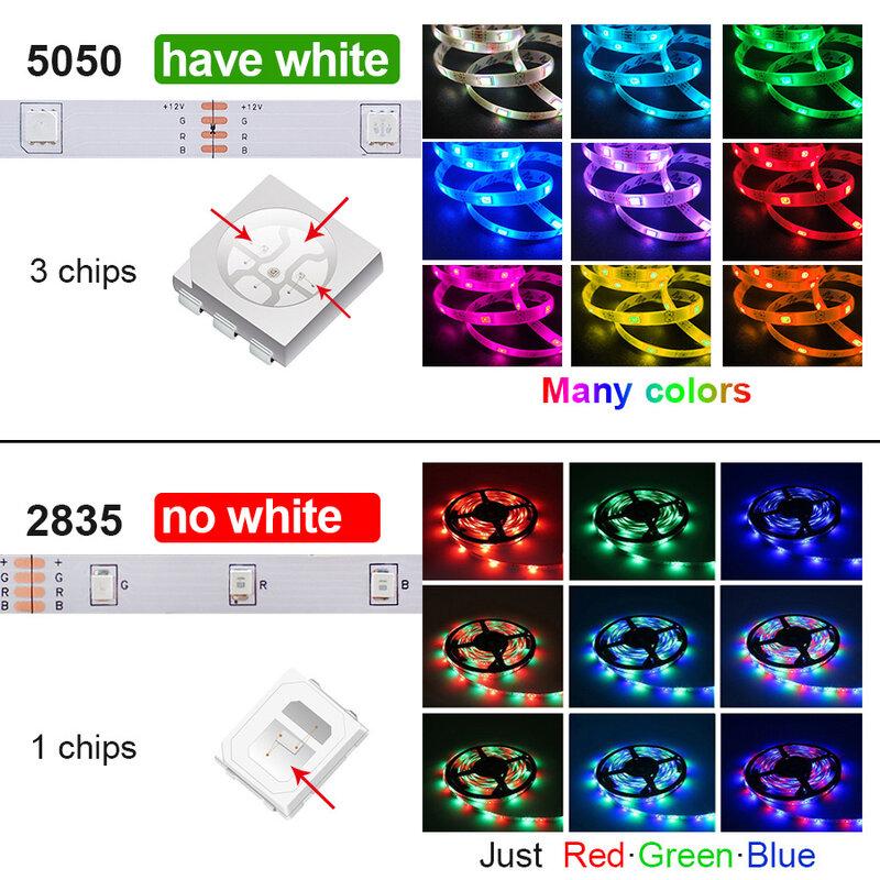 2835 SMD 5050 RGB LED Strip Light 5M 10MไฟLED StringเทปLEDไดโอดยืดหยุ่นบลูทูธDC 12Vอะแดปเตอร์