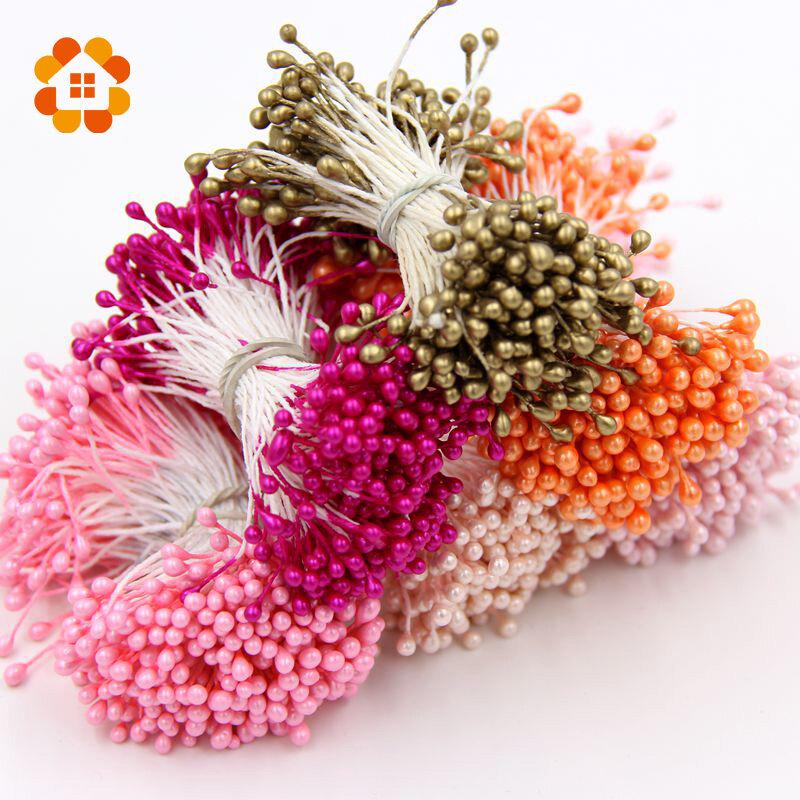 150PCS Künstliche Blume Doppel Köpfe Staubblatt Pearlized Handwerk Karten Kuchen Dekoration Blumen für Home Hochzeit Party Dekorationen