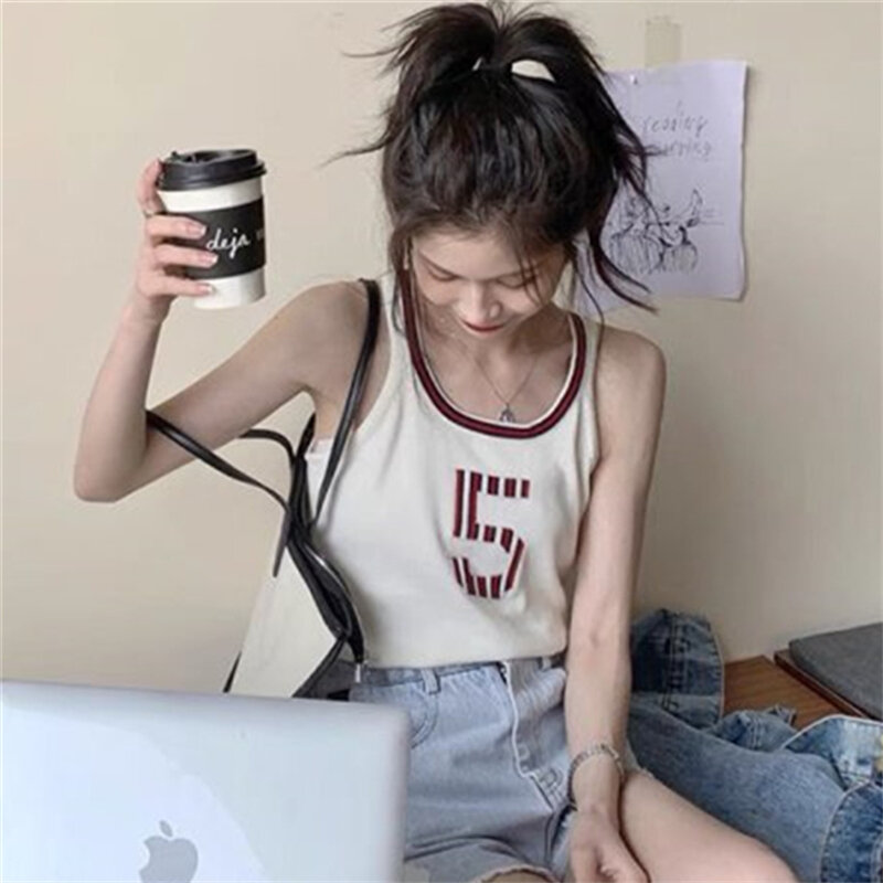 Retro Chic Hong Kong Style Vest Women's Summer Outdoor Fashion Ins Harajuku BF Style Student Short Sleeveless T-shirt Sports Top
