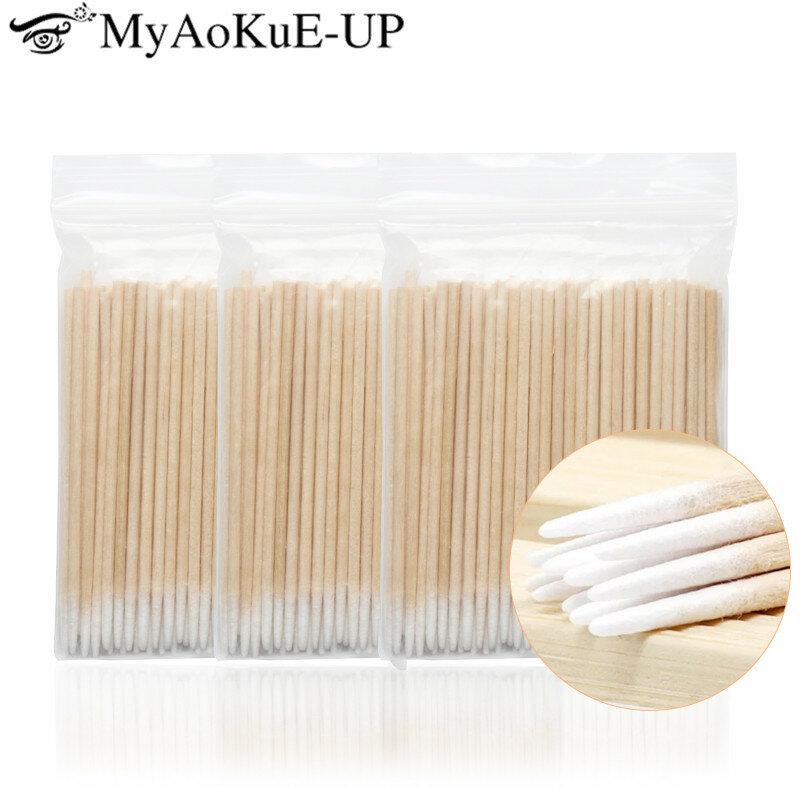 300 stücke Einweg Ultra-kleine Baumwolle Tupfer Fusselfrei Micro Pinsel Holz Baumwolle Knospen Tupfer Wimpern Verlängerung Kleber Entfernen werkzeuge