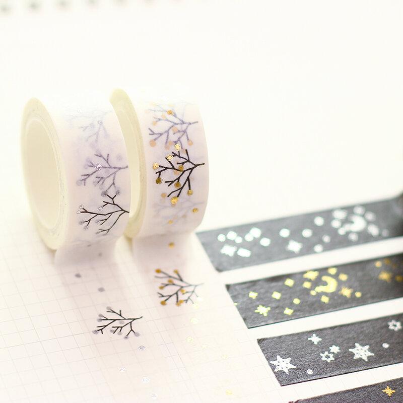 Diy minimalista negro con textura blanco cinta de papel Pda plata pequeño fresco Floral cinta 5m cinta adhesiva decorativa cinta adhesivo
