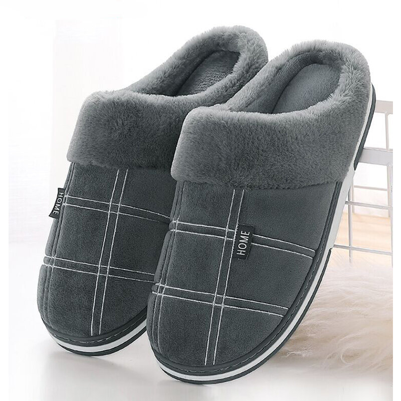Hommes chaussures hiver pantoufles daim vichy peluche velours intérieur chaussures pour hommes maison pantoufles 2020 antidérapant imperméable mâle pantoufle