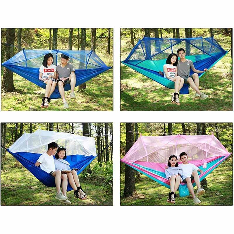 Amaca da campeggio esterna portatile per 1-2 persone con zanzariera ad alta resistenza in tessuto paracadute appeso letto caccia altalena per dormire