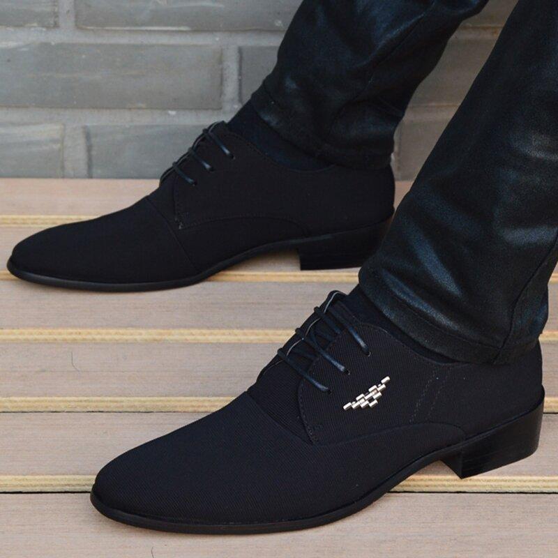 Mocassins à bout pointu en cuir noir pour homme, chaussures italiennes classiques de mariage, à la mode