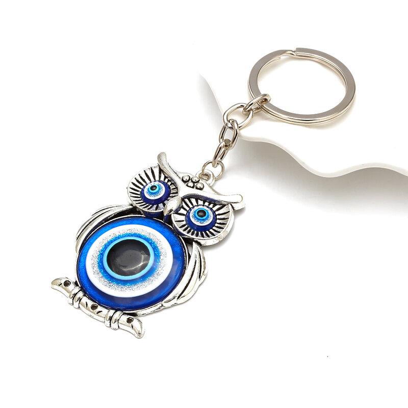 الأزرق عين الشر البومة محظوظ سحر حماية شرابة شماعات بلورات سيارة فنغ شوي المفاتيح