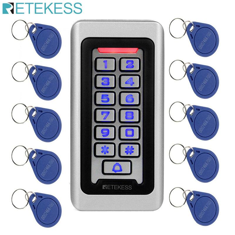 Retekess T-AC03 키패드 RFID 액세스 제어 시스템 근접 식 카드 독립형 2000 사용자 도어 액세스 제어 방수 금속 케이스
