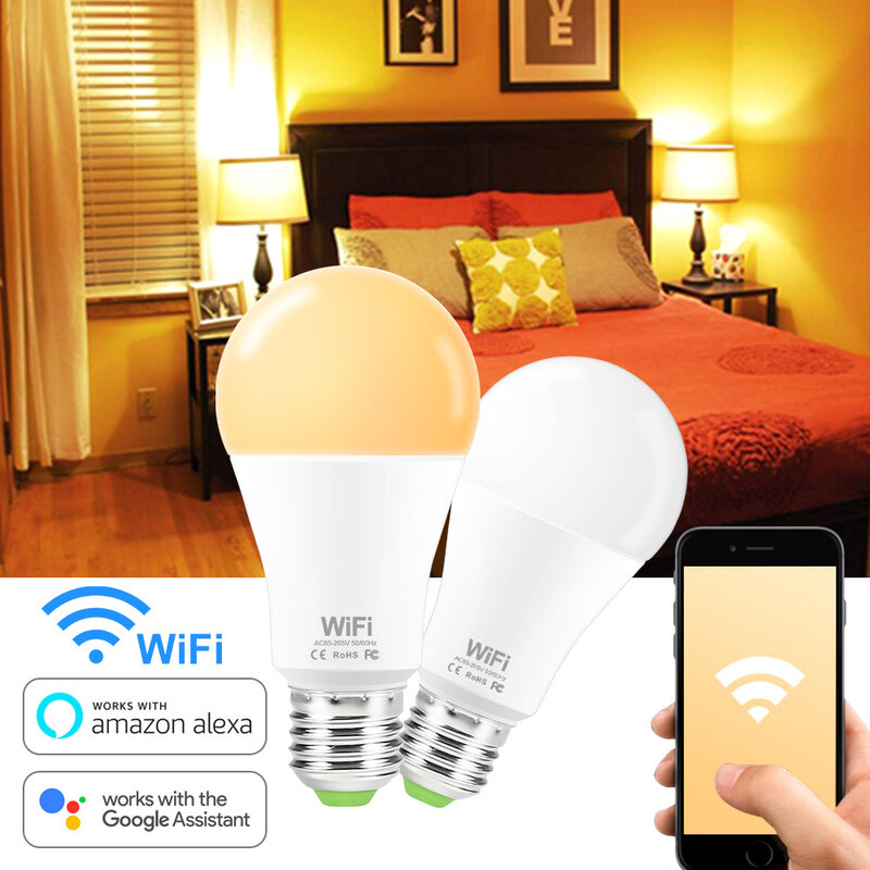 Bombilla de luz inteligente WiFi E27 B22, lámpara LED regulable, activación inteligente por aplicación, Compatible con Amazon Alexa y Google Home, 15W