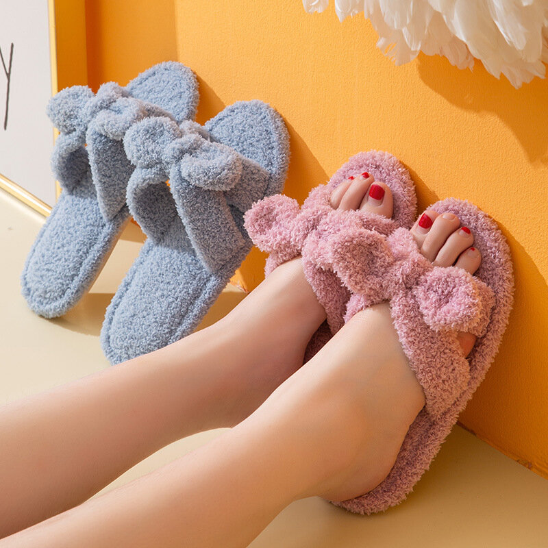 Cotton LOVELY Animal Home Women Slippers Cartoon Winter Indoor Shoes For Girls Ladies Female Warm House Bedroom Floor Flats