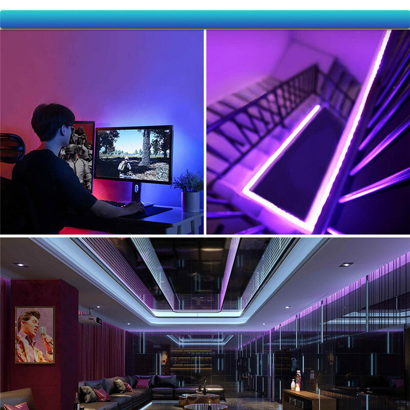 LED 스트립 빛 USB SMD RGB 2835 1M 2M 3M 4M 5M DC5V 유연한 LED 램프 데스크 화면 배경 TV 데스크탑 USB 케이블 3 키 제어