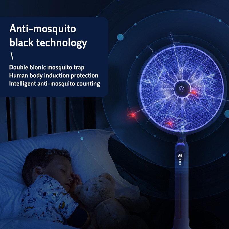 6 in 1 Led-anzeige Smart Elektrische Moskito-klatsche 3000V Starke Spannung Insekten Mörder Menschlichen Körper Induktion Keine Strahlung mit Fan
