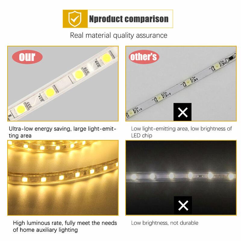 Nastro a strisce Led AC220V SMD 5050 striscia flessibile a led striscia 60Leds/metro impermeabile per illuminazione da giardino per esterni