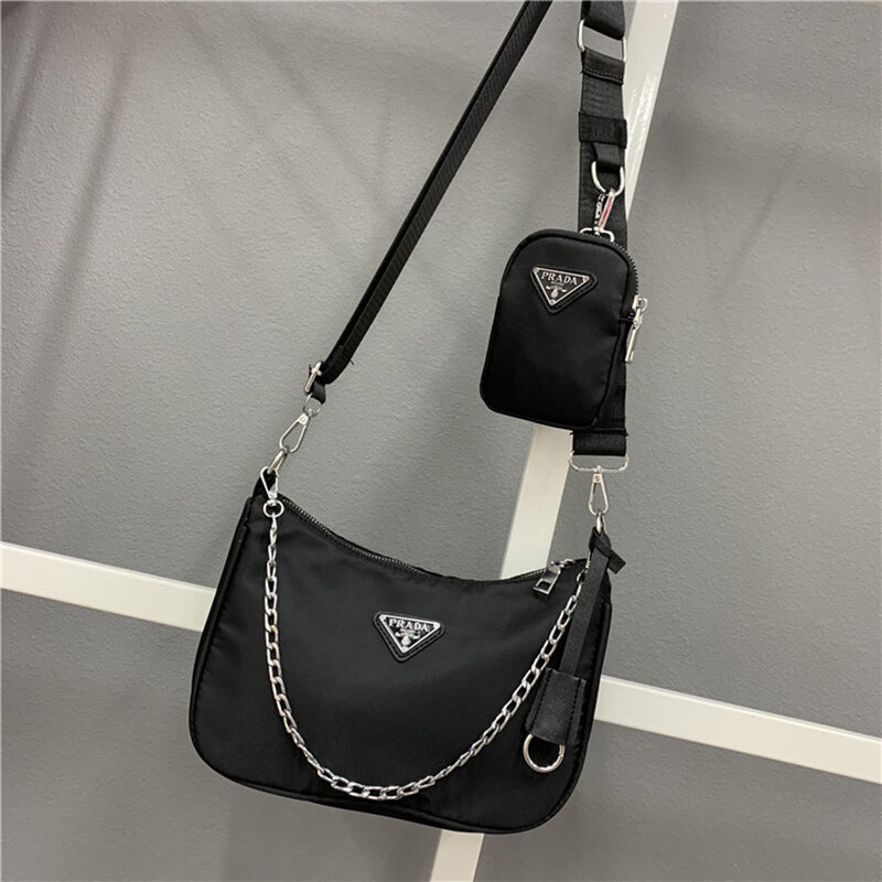 2021 Prada ใหม่2Pc ไนลอนข้าม Baozi หญิง MotherBag รักแร้กระเป๋า