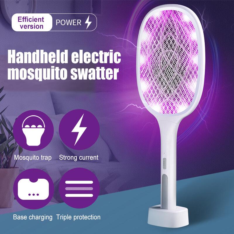 LED 2 1 전기 전기 트랩 곤충 라켓 비행 찰싹 때림 Zapper USB 램프 빛 충전식 안티 모기 킬러 램프 여름