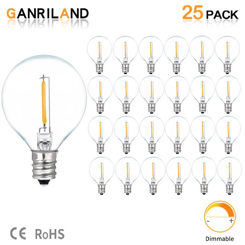 25 قطعة G40 1 واط LED سلسلة أضواء لمبة بديلة E12 220 فولت 110 فولت الدافئة الأبيض 2200 كيلو LED مصابيح استبدال G40 7 واط المتوهجة المصابيح