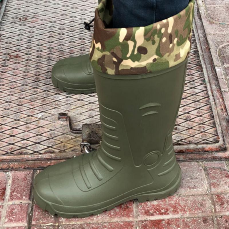Bottes de pluie et de Camouflage pour homme, chaussures imperméables avec peluche, chaudes, mi-mollet, de pêche, de travail, fabriquées en turquie